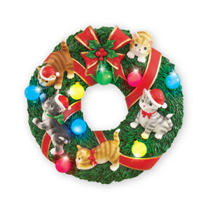 Image Is Loading Holiday Cat Wreath Lighted Wall Decoration By Collections