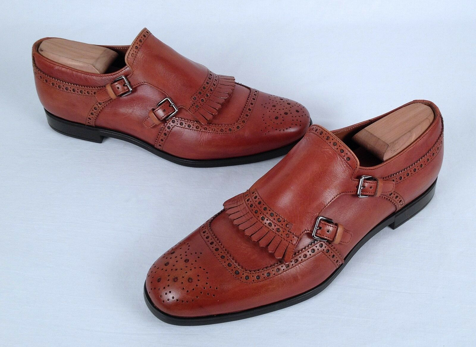 Prada Kiltie Double Monk Strap Loafer- Walnut Calf- Size 7 US  6 UK   770  (S4)