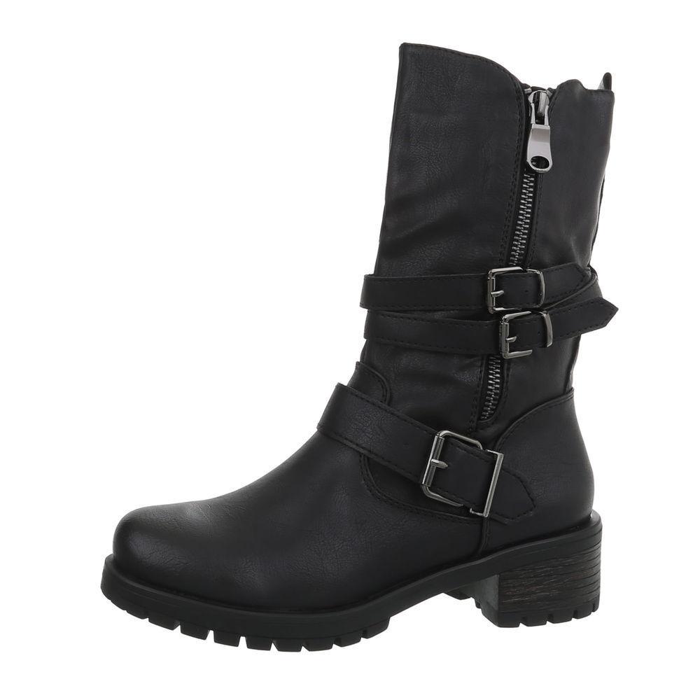 USED OPTIK BOOTS STIEFEL DAMENSCHUHE DESIGNER NEU Gr 37 black 7164