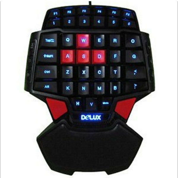 Blue LED Backlit One Handed Gaming Keyboard for PC Computer CF LOL DOTA 2