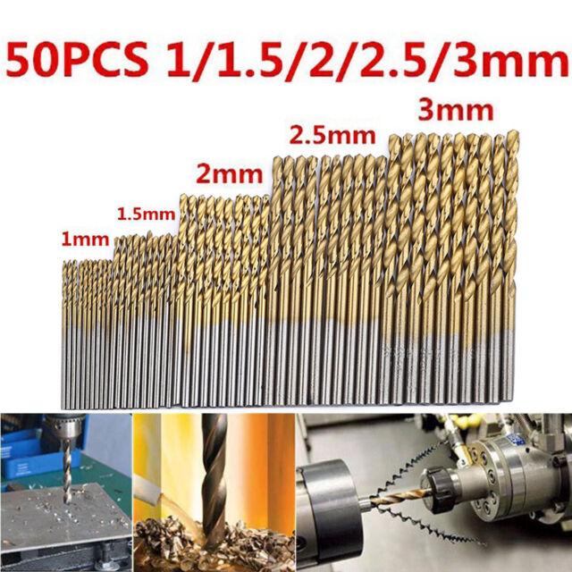 1/1.5/2/2.5/3MM Titanium Coated HSS High Speed Steel Drill Bit Tool 50pcs / Set