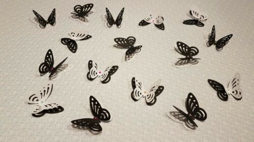 24x Wedding Birthday Table Decorations 3D Butterflies White and Black