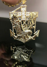 Men's Designer 10k Yellow Gold With Charm Pendent Eagle Anchor,Diamond Cuts A6B5