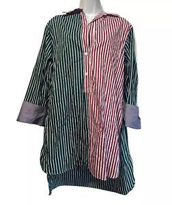 zara Woman Size S Green Red stripe 3/4 button long sleeve slit sides tunic shirt