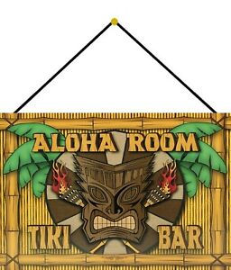 Aloha Room Tiki BAR Tin Sign Shield with Cord 20 X 30 CM FA1009-K