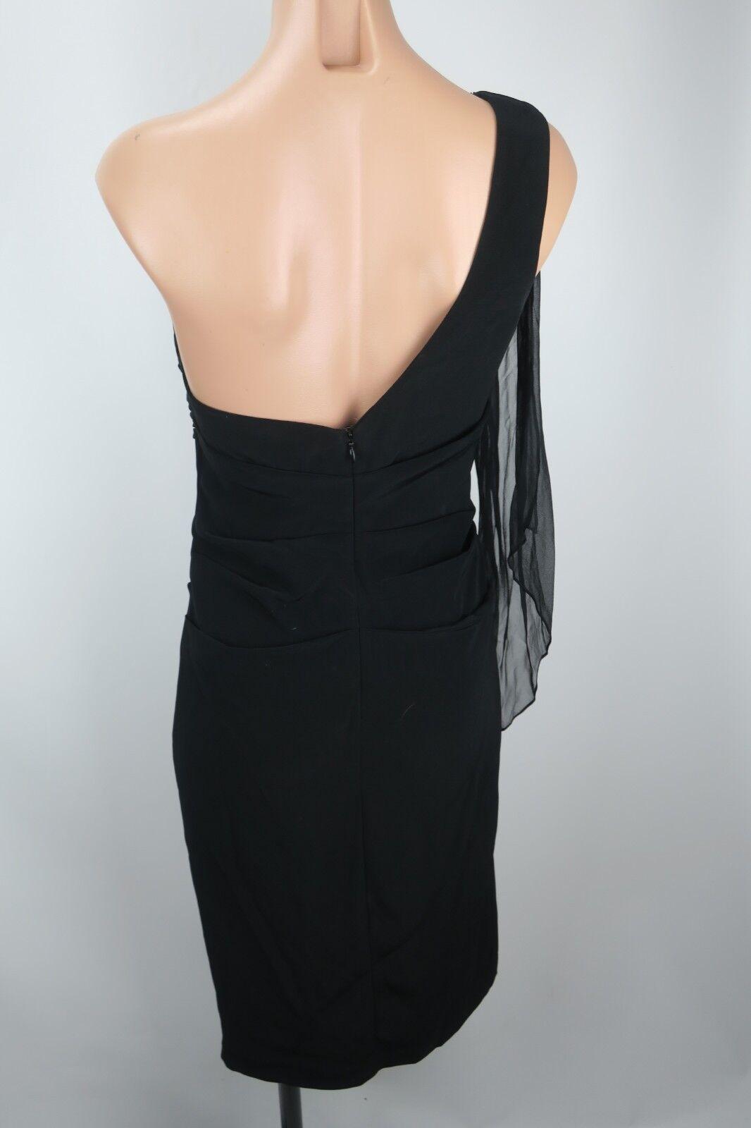 Dina Dina Dina Bar-el one Shoulder sheer ruched Wiggle Prom Evening Party Dress Sz S EUC 70fd4e