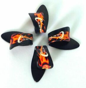 SET OF 4 THUMB PICKS - FLAMES - PLECS PLECTRUMS SIZE MEDIUM/LARGE BY CLEARWATER