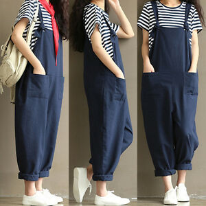 7f95e773b731 Women s Casual Loose Linen Pants Cotton Jumpsuit Strap Harem ...