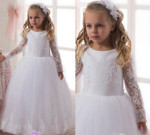 220b1810869 Kids Lovely Flower Girls Dresses Wedding Lace Long Sleeves Communion ...