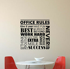 Image Is Loading Office Rules Wall Decal Inspirational Quote Vinyl Sticker