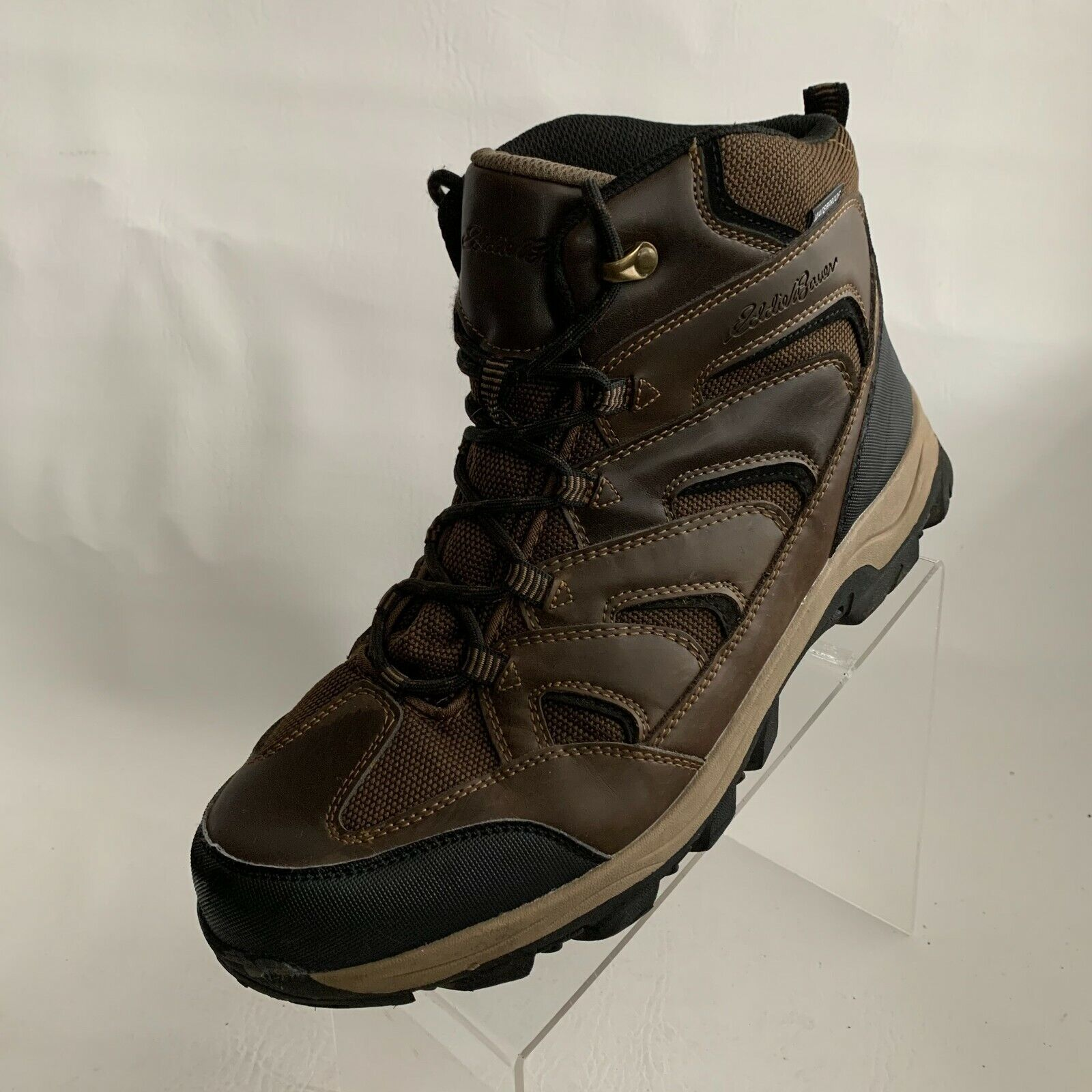 Eddie Bauer Mens Fairmont Ankle Boots Brown Leather Waterproof Lace Up Size 12M