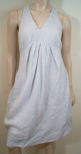 c118f174e496 SARAH PACINI Off White 100% Linen V Neck Sleeveless Pleated Summer Dress  Sz:1