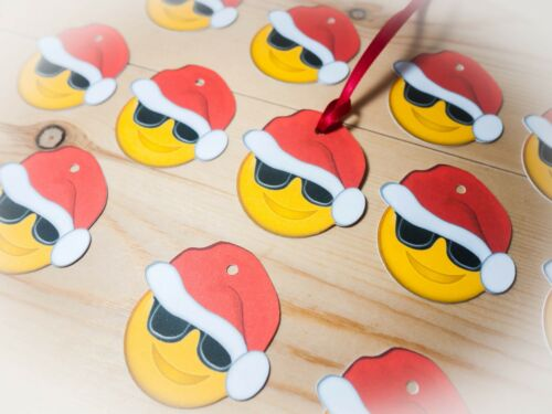 Emoji Cool Carte de Noël Cadeau TAGS//ETIQUETTES//faveurs//10 avec ruban