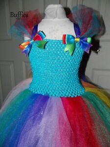scarpe sportive 0b25b 54728 Dettagli su Rainbow Unicorno Arcobaleno Tutu Tulle abito fatto a mano  Costume Ragazze Multi Colore- mostra il titolo originale