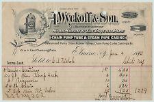 RARE Billhead - Wyckoff Chain Pump Tube Steam Tan Liquor Pipe - Elmira NY 1890