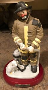 Vintage-Flambro-Emmett-Kelly-Jr-Clown-Figurine-Fireman-Dog-Hose-Hydrant-1995