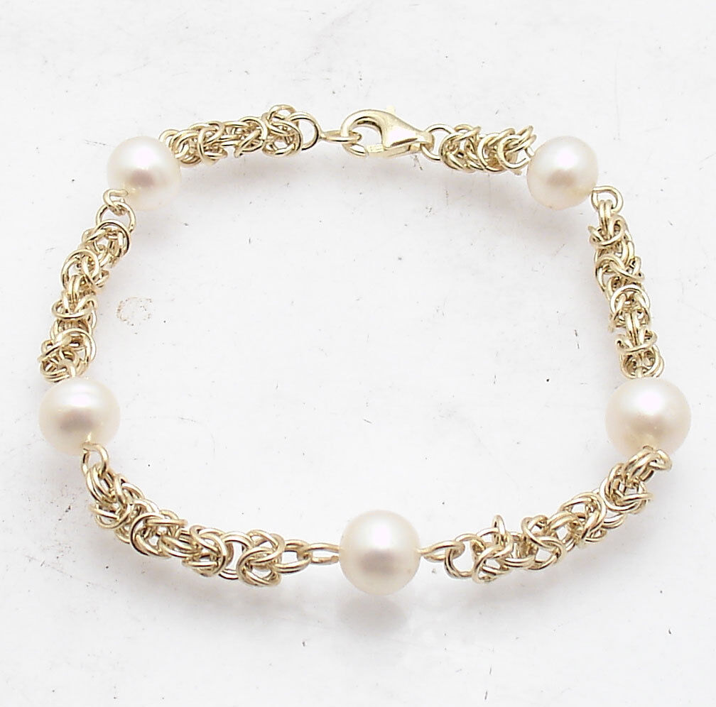 7  Round Byzantine Link Bracelet with Pearl Stations Real 14K Yellow gold QVC