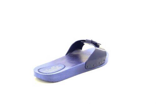 Truffle Ladies Slip On Buckle Rubber Waterproof Slipper Sliders Navy
