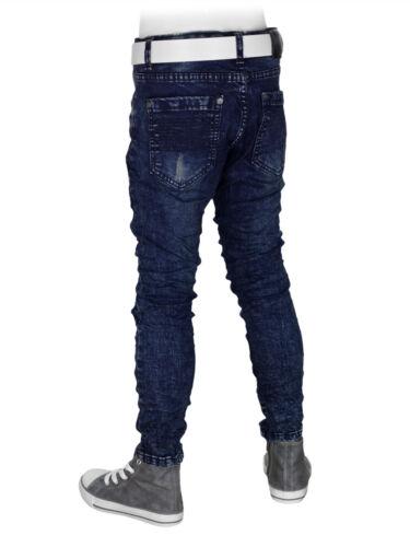 Jeans Jungen Bikerjeans Hose blau Kinder Slim-Fit Gr.104-158 Knitteroptik #JY588