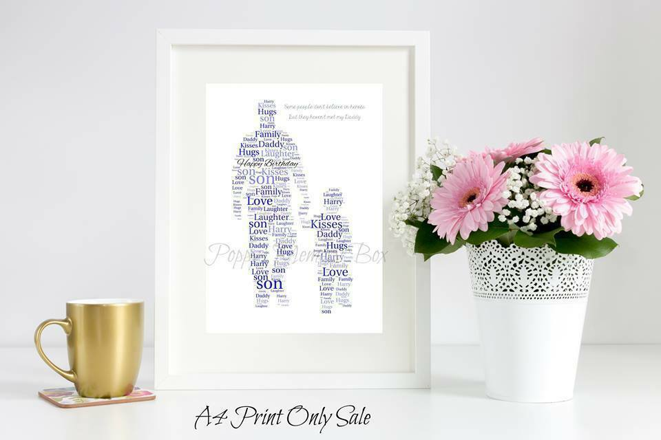 Personalised Dad Grandad & Son Word Art Gift Birthday Christmas Father's Day