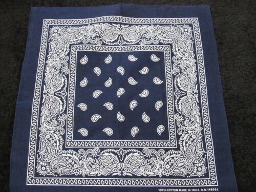 Paisley Bandana Double Sided Navy Blue Color 100/% Cotton