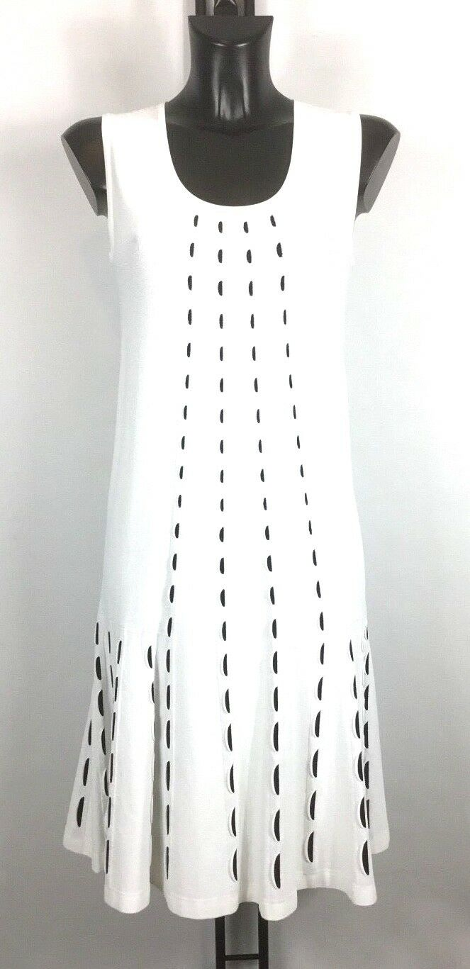 D.EXTERIOR JERSEY WHITE FLARE SKIRT DRESS BNWT SIZE 12