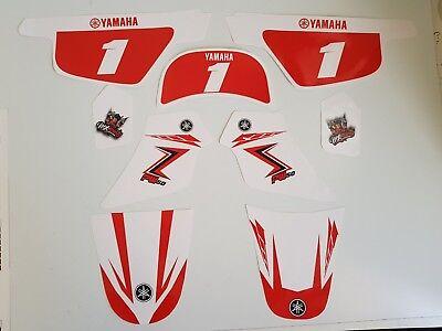 Kit Deco Rouge Vintage pour moto cross YAMAHA PW 50 PW50 Qualité Premium