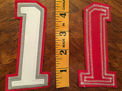 "NOS Tackle Poly Twill 4/"" 3 Tone Number 2 SEWN White on Gray on Red Iron//Sew on"