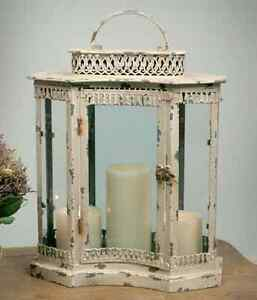 Primitive new large distressed cream CURVED tin /glass candle lantern /nice