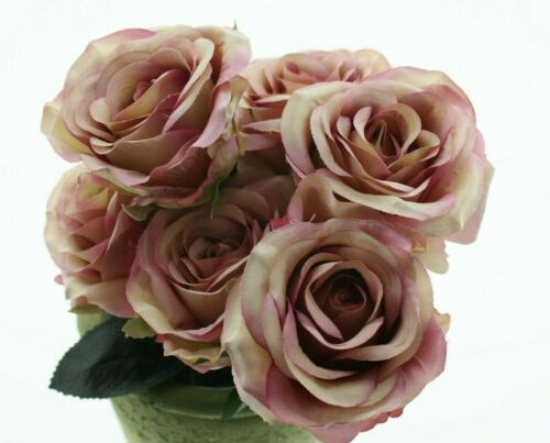 Rosen 6x Madame rosa L37cm Rosenstrauß Stoffrose Kunstblume Seidenblume Romantik