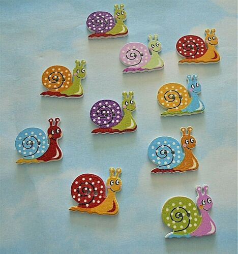 mixed colours 2 hole Wooden snail buttons x 10