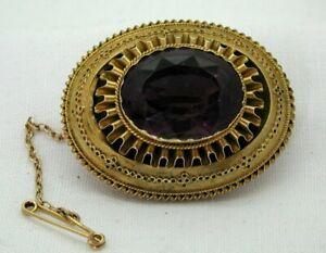 Victorian-Lovely-15-carat-Gold-And-Large-Amethyst-Set-Locket-Brooch