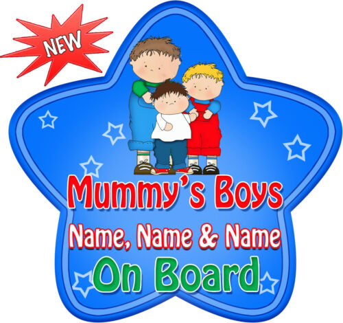 Blue Star Shaped Baby On Board Car Sign ~ New! 3 Personalised Mummy/'s Boys