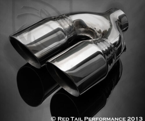 """Dual 3.5/"""" Round Exhaust Muffler Tip Double Walled  7.75/"""" width /& 2.5/"""" Inlet"""