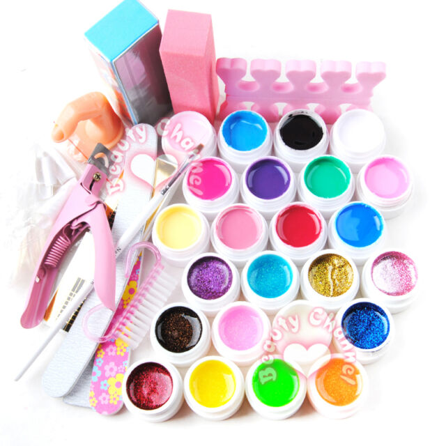 24 Colors Pure Glitter UV Gel Nail Art Form Sticker File Tips Brush Tool Set Kit