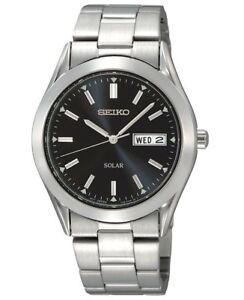 NEW-Seiko-Solar-Stainless-Steel-Wrist-Watch-Men-37mm