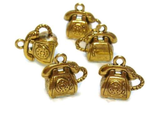 Chunky 3D Phones 10 Antique Gold Telephone Charms Retro Phone Charms