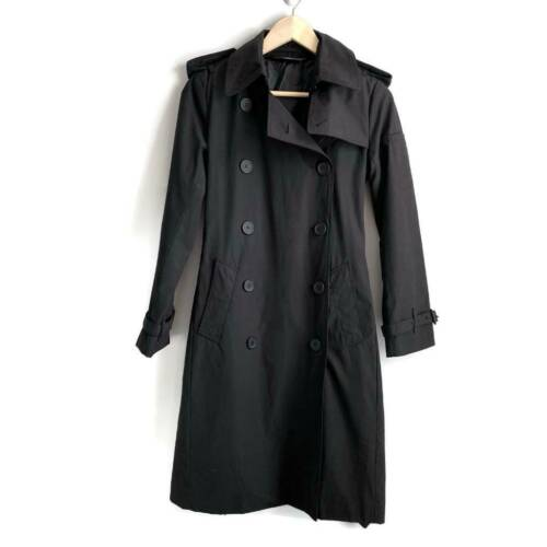 Norma Kamali Womens Double Breasted Trench Coat Bl