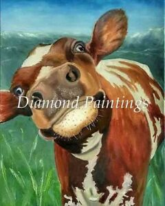 Cute Brown and White Cow Selfie Square Full Drill Diamond Painting Kit