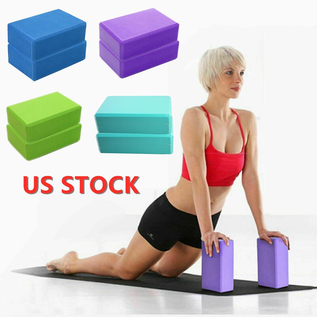 2pc Yoga Fitness Block Foam Brick Sports Pilates Gym Workout Exercise Stretching