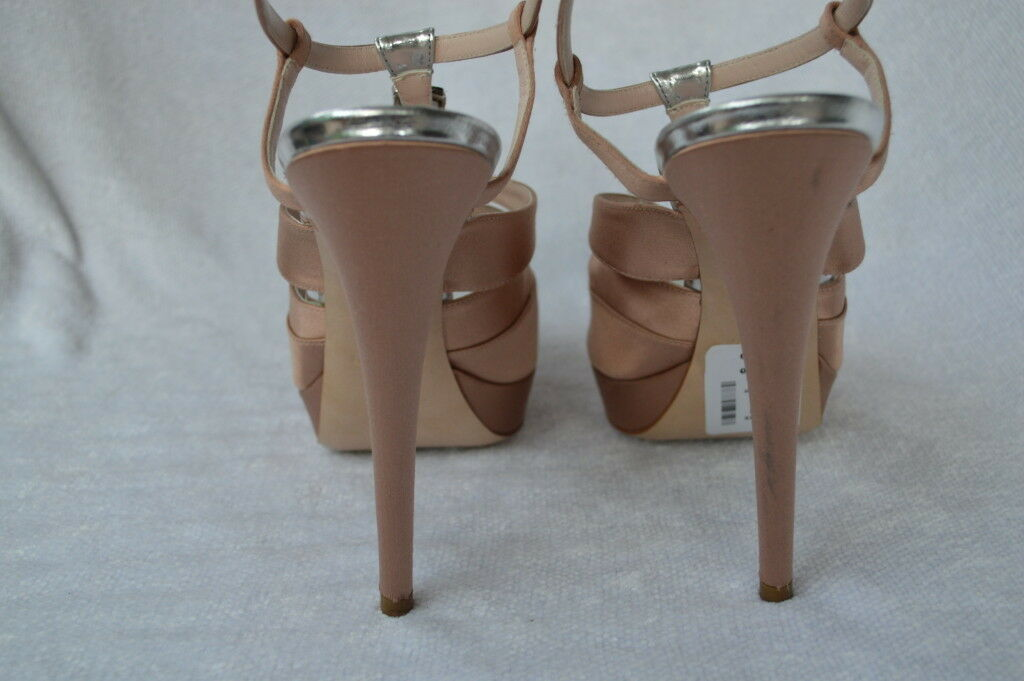 MIU MIU BY PRADA SHOES SANDALS HEELS platform pink satin 41 11
