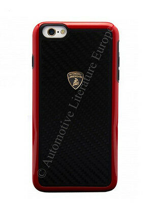 100 % ORIGINAL LAMBORGHINI HARDCOVER CASE CARBON FIBRE APPLE IPHONE 6/6S ROT