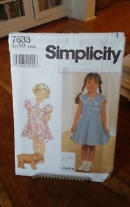 Oop-Simplicity-Amber-7633-girls-summer-dress-puffed-sleeves-flared-sz-5-6x-NEW
