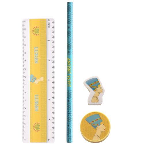 4 Teilig Schreibwaren Ägypten Bleistift Anspitzer Radierer Lineal Noretete