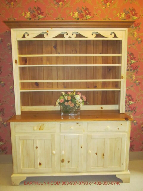 Ethan Allen Farmhouse Pine Open China Hutch Cabinet 23 6207