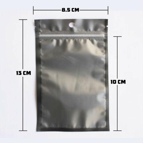 8.5 x 13cm Black Clear Mylar Bags Smell Proof Storage Heat Seal 3.5g Ziplock