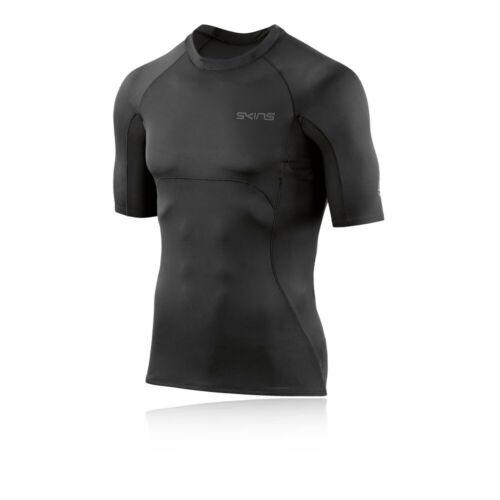 Skins Da Uomo dnamic Ultimate Manica Corta Top Nero Sport da Palestra Traspirante
