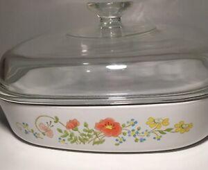 RARE-STAMPED-Vintage-Corning-Ware-Wildflower-Dish-W-Lid-9-3-4-x-9-3-4-x-2