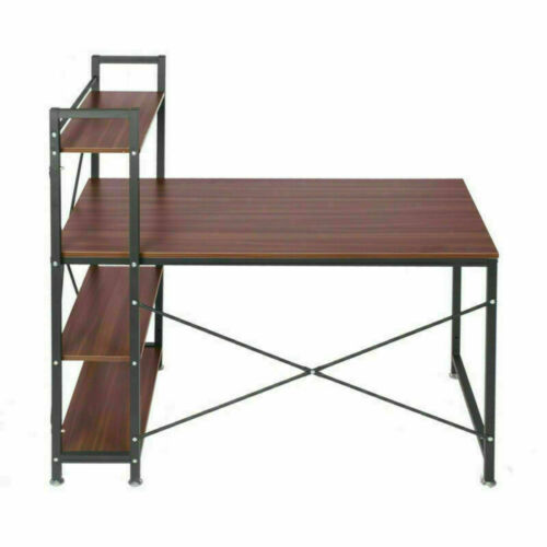 Corner Computer Desk Study Gaming Table Writing With 4 Shelves Wooden /& Metal