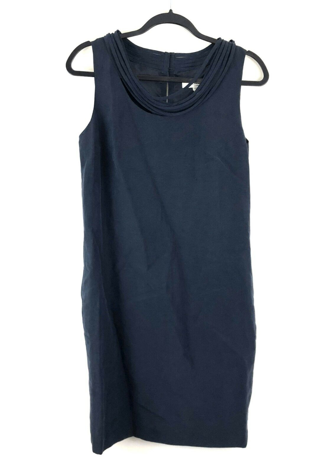 L.K. Bennett Della Shift Dress US 8 Silk & Linen Blend Navy bluee New  425
